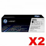 2 x HP CE410X (305X) Genuine Black Toner Cartridge - 4,000 Pages