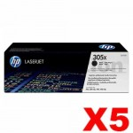 5 x HP CE410X (305X) Genuine Black Toner Cartridge - 4,000 Pages