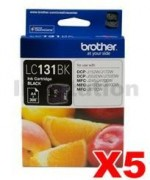 5 x Genuine Brother LC-131BK Black Ink Cartridge - 300 Pages [3BK]