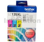 Genuine Brother LC-135XLCL3PK High Yield Colour Pack [C+M+Y] - 1,200 Pages each