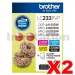 2 x Genuine Brother  LC-233PVP Photo Value Pack [2BK+2C+2M+2Y+Photo Paper]