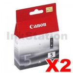 2 x Genuine Canon PGI-5BK Black Inkjet Cartridge