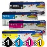 4-Pack Brother TN-251 Genuine Toner Combo [1BK,1C,1M,1Y]