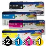 2 sets of 4-Pack Brother TN-251 Genuine Toner Combo [2BK,2C,2M,2Y]