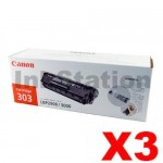 3 x Canon CART-303 Black Genuine Toner Cartridge 2,000 Pages