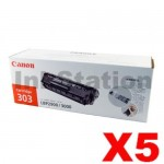 5 x Canon CART-303 Black Genuine Toner Cartridge 2,000 Pages