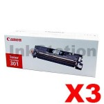 3 x Canon LBP 5200 / MFC 8180 (CART-301BK) Genuine Black Toner Cartridge - 5,000 pages
