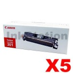 5 x Canon LBP 5200 / MFC 8180 (CART-301BK) Genuine Black Toner Cartridge - 5,000 pages