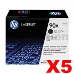 5 x HP CE390A (90A) Genuine Black Toner Cartridge - 10,000 Pages