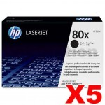 5 x HP CF280X (80X) Genuine Black Toner Cartridge - 6,900 Pages