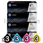 3 sets of 4 Pack HP CE320A-CE323A (128A) Genuine Toner Cartridges [3BK,3C,3M,3Y]