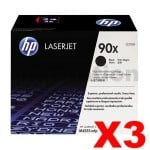 3 x HP CE390X (90X) Genuine Black High Yield Toner Cartridge - 24,000 Pages