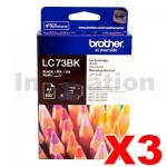 3 x Brother LC-73BK Genuine Black Ink Cartridge - 600 pages each