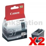 2 x Genuine Canon PG-37 Black Ink Cartridge - 219 pages