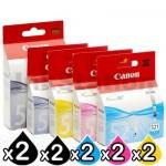 10-Pack Genuine Canon PGI-520 & CLI-521 Inkjet [2BK,2PBK,2C,2M,2Y]