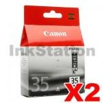 2 x Canon PGI-35BK Black Genuine InkJet Cartridge