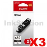 3 x Canon PGI-650XLBK Genuine Black High Yield Inkjet Cartridge