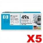5 x HP Q5949A (49A) Genuine Black Toner Cartridge - 2,500 Pages