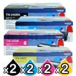 2 sets of 4-Pack Genuine Brother TN-340 Toner Combo [2BK,2C,2M,2Y]