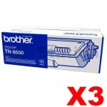 3 x Genuine Brother TN-6600 Toner Cartridge - 6,000 pages