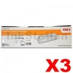 3 x OKI C833N Genuine Black Toner Cartridge (46443108) - 10,000 pages