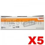 5 x OKI C833N Genuine Black Toner Cartridge (46443108) - 10,000 pages