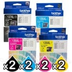 8 Pack Genuine Brother LC-137XL/LC-135XL High Yield Ink Combo [2BK+2C+2M+2Y]