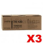 3 x Genuine Kyocera TK-120 Black Toner Cartridge FS-1030D - 7,200 pages