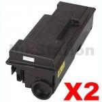 2 x Non-Genuine alternative for TK-344 Black Toner Cartridge suitable for Kyocera FS-2020D - 12,000 pages