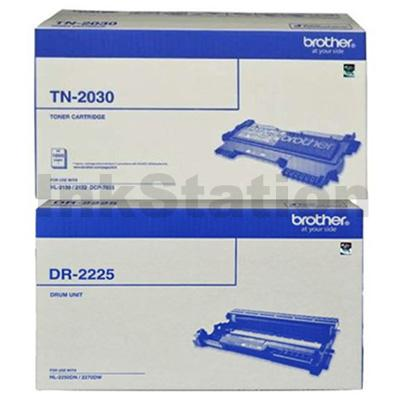 Brother Genuine TN-2030 Toner Cartridge + Genuine DR-2225 Drum Unit Combo