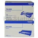 Brother Genuine TN-2250 Toner Cartridge + DR-2225 Drum Unit Combo