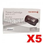 5 x Genuine Fuji Xerox DocuPrint M355df, P355d Black High Yield Toner - 10,000 pages (CT201938)