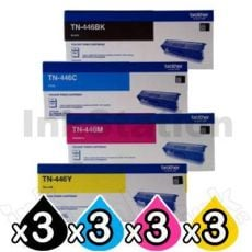 3 Sets of 4-Pack Brother TN-446 Genuine Toner Combo [3BK,3C,3M,3Y]