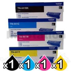 4-Pack Brother TN-441 Genuine Toner Combo [1BK,1C,1M,1Y]