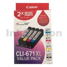 Genuine Canon CLI-671XL High Yield Inkjet Value Pack (CLI671XLVP) [1BK,1C,1M,1Y]
