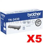 5 x Brother TN-2430 Genuine Toner Cartridge - 1,200 pages