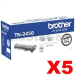 5 x Brother TN-2450 High Yield Genuine Toner Cartridge - 3,000 pages
