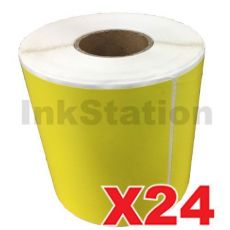 24 Rolls Perforated Direct Thermal Labels Yellow 100mm X 150mm - 350 Labels per Roll  (Roll diameter 10.5cm)