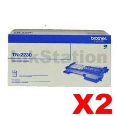 2 x Brother TN-2230 Genuine Toner Cartridge - 1,200 pages