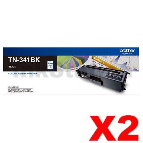 2 x Genuine Brother TN-341BK Black Toner Cartridge - 2,500 pages
