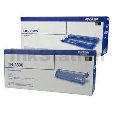 Brother Genuine TN-2330 Toner Cartridge + Genuine DR-2325 Drum Unit Combo