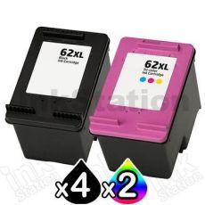 6 Pack HP 62XL Compatible High Yield Inkjet Cartridges C2P05AA + C2P07AA [4BK,2CL]