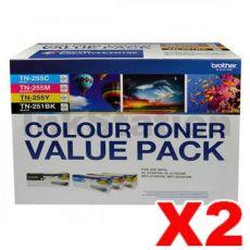 2 x Brother TN-251 / TN-255 Genuine High Yield Toner Value Pack (N8AE00003) [2BK+2C+2M+2Y]