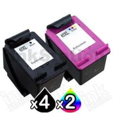 6 Pack HP 65XL Compatible High Yield Ink Combo N9K04AA + N9K03AA [4BK,2CL]