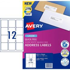 AVERY #959005 Quick Peel White Address Labels with Sure Feed LASER 12UP 63.5 x 72mm - L7164 (1200 Labels/100 Sheets)