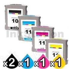 5 Pack HP 10 + 11 Compatible Inkjet Cartridges C4844AA+C4836AA-C4838AA [2BK,1C,1M,1Y]