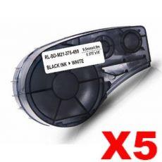 5 x Compatible Brady M21-375-499 Black on White Nylon Label Tape 9.5mm x 4.9m