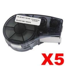 5 x Compatible Brady M21-750-595-WT Black on White Vinyl Label Tape 19.1mm x 6.4m