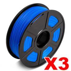 3 x PLA 3D Filament 1.75mm Blue - 1KG