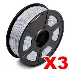 3 x PLA 3D Filament 1.75mm Silver - 1KG